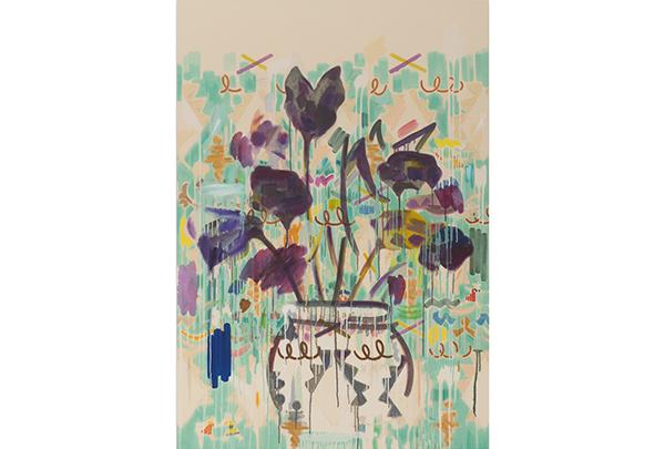 牡丹靖佳「flower」(2015年)油彩、鉛筆、ジェッソ、クレパス、紙
