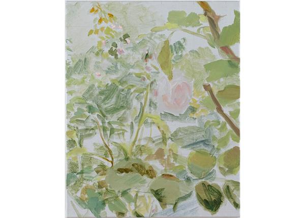 吉岡千尋「rose 16」(2016年)油彩、蜜蝋、金属粉、キャンバス