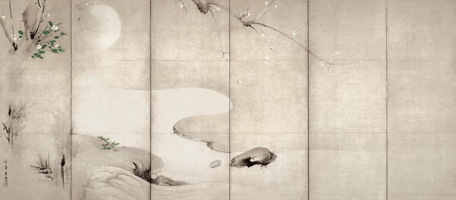 月下渓流図屏風 海北友松筆 ネルソン・アトキンズ美術館(米国) 桃山時代 17世紀 通期展示