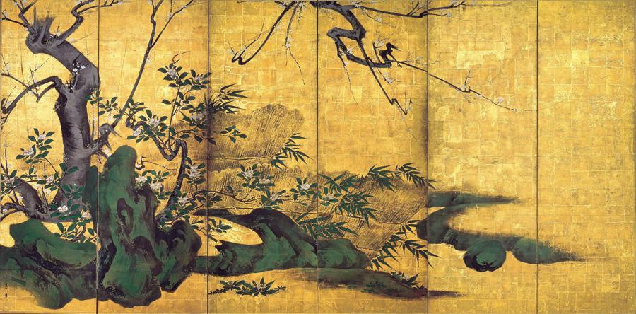 重要文化財 花卉図屏風 海北友松筆 妙心寺(京都) 桃山時代 17世紀 通期展示