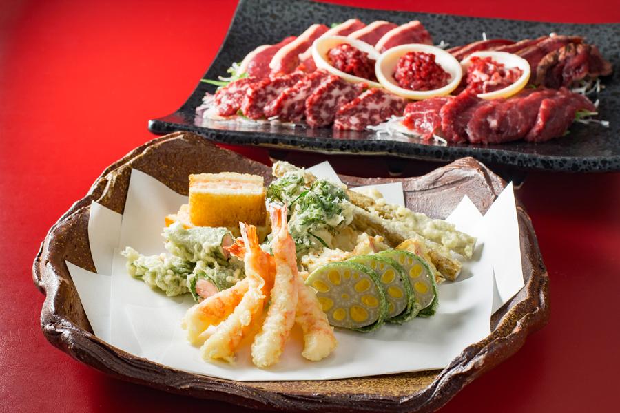 馬刺し食べ比べ、天草車海老や辛子蓮根の天ぷら
