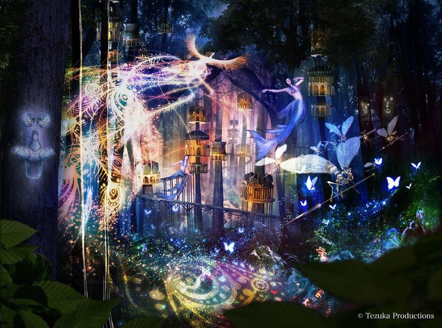 手塚治虫の「火の鳥」を題材にした全長1.2㎞のプロジェクションマッピング ©Tezuka Productions