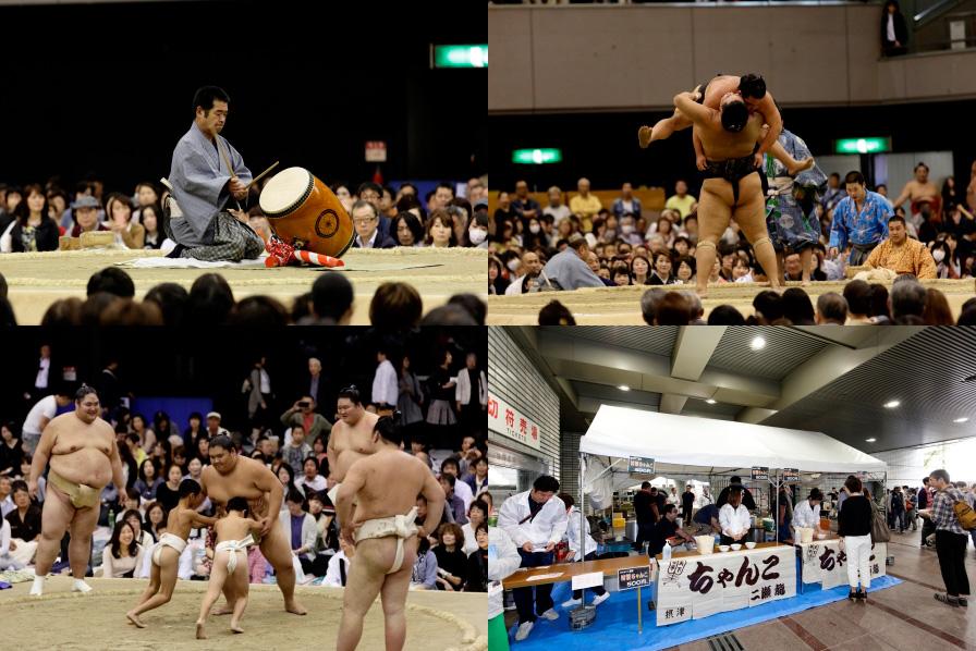 幕内上位力士の取組みやちびっこ相撲のほか、会場には本格ちゃんこ屋台も登場