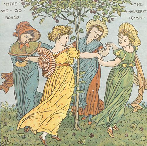 ウォルター・クレイン(絵)『幼子のオペラ』より「桑の木をまわろう」1877年 中央大学図書館
