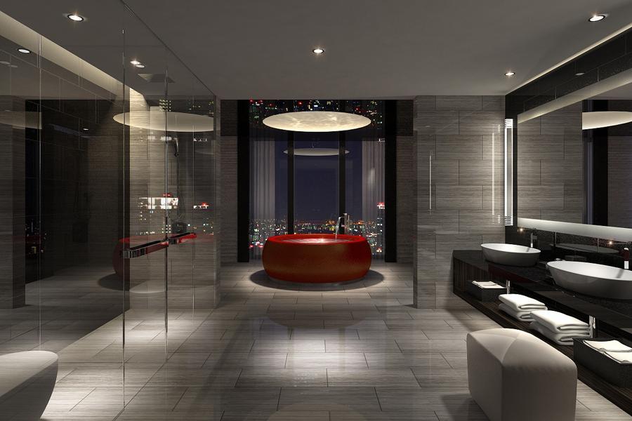 220平方メートルの「コンラッドスイート」の部屋の中心にが真紅の漆の円形バスタブが鎮座