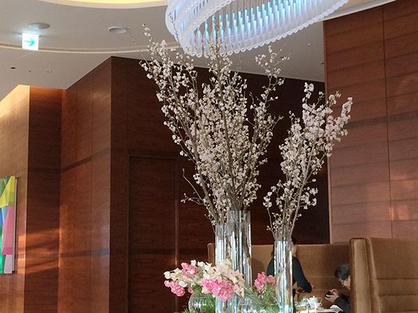 ラウンジ「3-60」の真ん中に飾られた桜のディスプレー