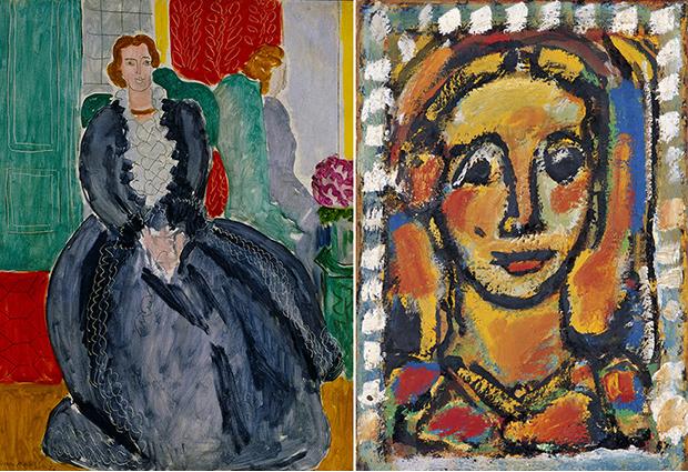 左:アンリ・マティス《鏡の前の青いドレス》 1937年 京都国立近代美術館 右:ジョルジュ・ルオー《マドレーヌ》 1956年 パナソニック 汐留ミュージアム