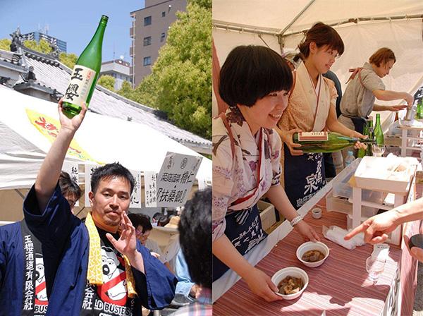 「玉櫻酒造」(島根)の「玉櫻 生酛純米にごり」に、「日本酒餐昧 うつつよ」(大阪市中央区)とコラボした「島岡酒造」(群馬)の「群馬泉 山廃純米 舞風」。料理は、豚舌の角煮と下仁田こんにゃく(2016年開催時)