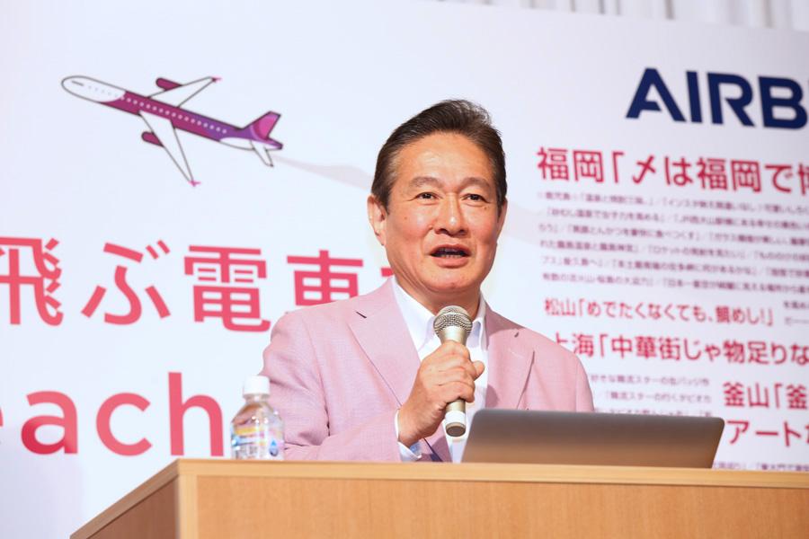 「関西を拠点とする唯一の航空会社として『関西魂』を忘れずに取り組む」と話す井上慎一代表取締役CEO