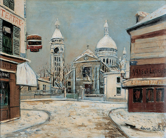 雪のサン=ピエール教会とサン=クレール寺院、テルトル広場、モンマルトル 1935-1937年頃 ©Hélène Bruneau,2017