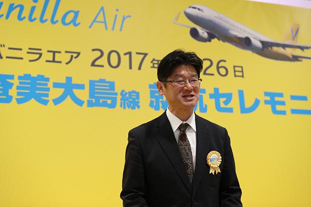 「奄美群島国立公園」に指定された奄美大島の魅力を語る五島社長(3月26日、関空)