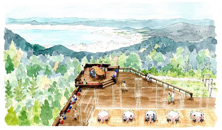 4月25日にオープンする「星野リゾート ロテルド比叡」の「山床(やまどこ)カフェ」(イメージ)