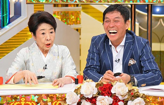 左から中村玉緒、明石家さんま。大ボケ掛け合いトークを展開(毎日放送『痛快!明石家電視台』)