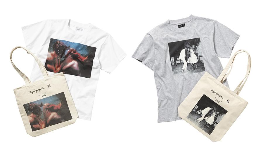 本展特別アイテムとして販売される、オリヴィア・ビーとマリック・シディベの作品を転写したアーティストTシャツ(10800円)とトートバッグ(7560円)