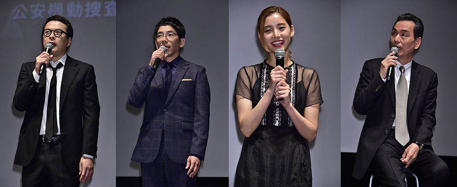 共演の田中哲司、野間口徹、新木優子、長塚京三(左から、6日)
