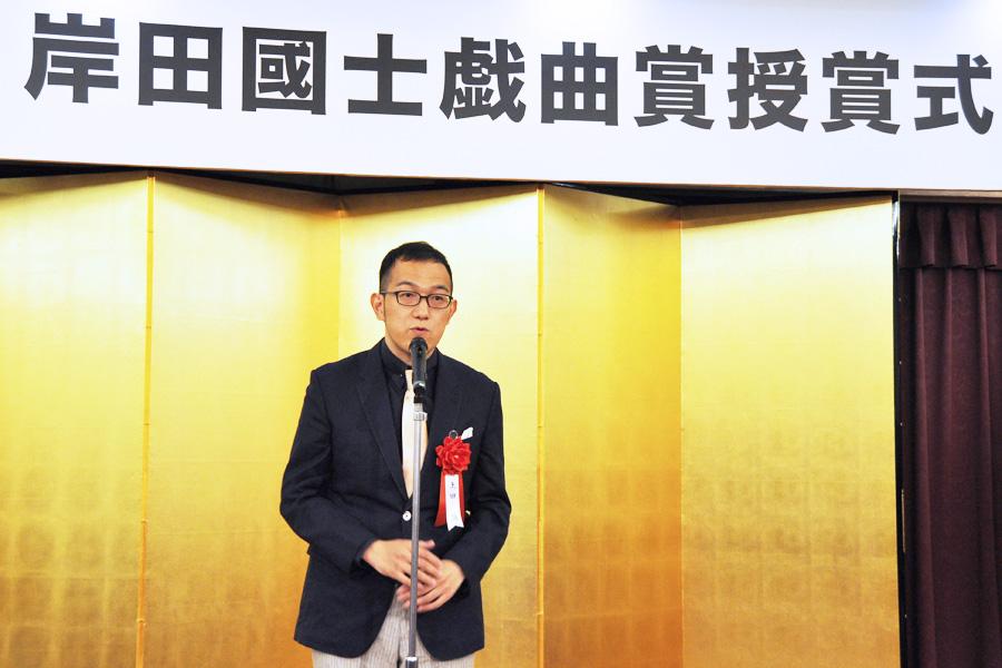 「第61回 岸田國士戯曲賞」を受賞した上田誠(17日、東京都新宿区)