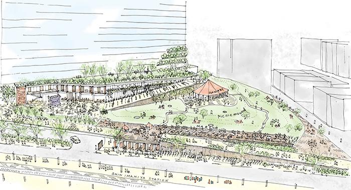 ホテルの建物と一体になるような緑地「みやぐりん(仮称)」イメージパース