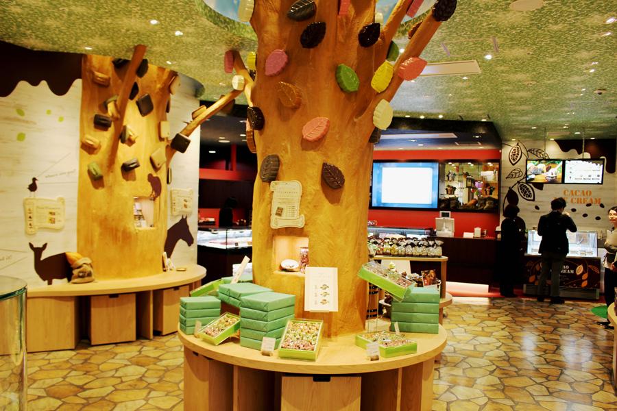 チョコレートの森をテーマに、カカオの実やチョコレートの動物が置かれた楽しい店内