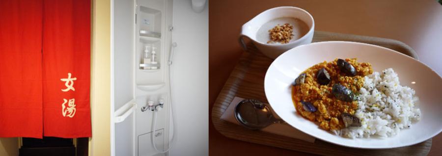 店内に完備されたシャワー室と、栄養&旨みを凝縮させたスープとカレー