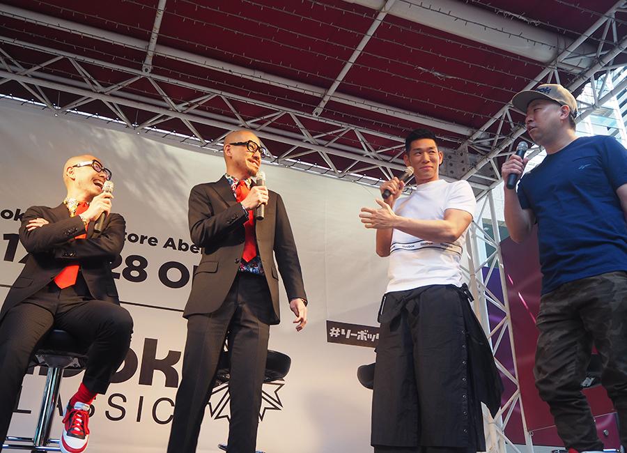 スニーカートークで会場を湧かせた「THEモンゴリアンチョップス」とレイザーラモン(28日・大阪市内)