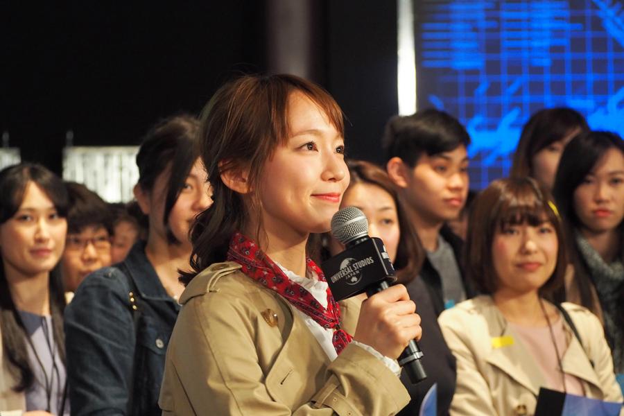 京都府出身でUSJによく遊びに来ていたといい、「ジュラシックパークが好き」と話す吉岡(10日・大阪市内)