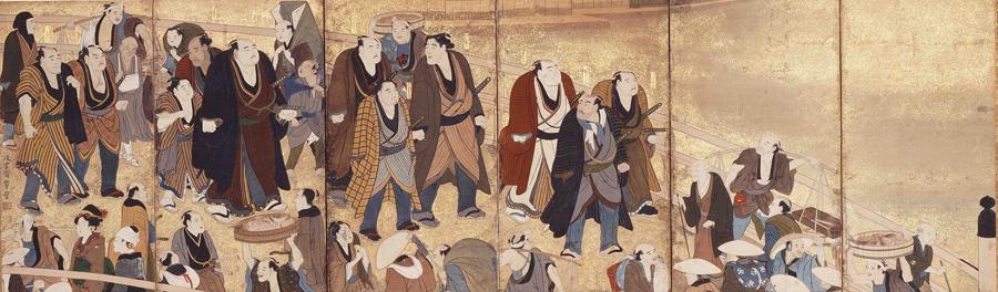 江戸大相撲生写之図 左隻 享和〜文化年間(1801〜1818)相撲博物館蔵 ※展示期間7/8〜31