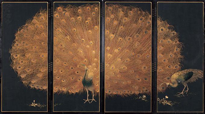 十二代西村總左衞門《孔雀図》 京都国立近代美術館蔵 1900-1910年 絹糸、刺繍、屏風 撮影:木村羊一