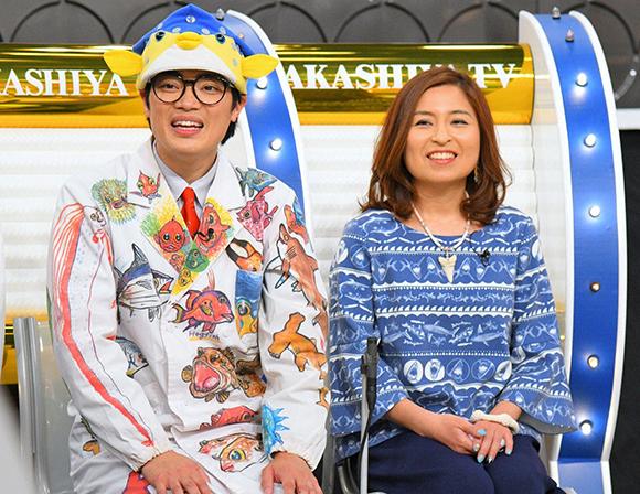 左から、さかなクン、シャークジャーナリストの沼口麻子(毎日放送『痛快!明石家電視台』)