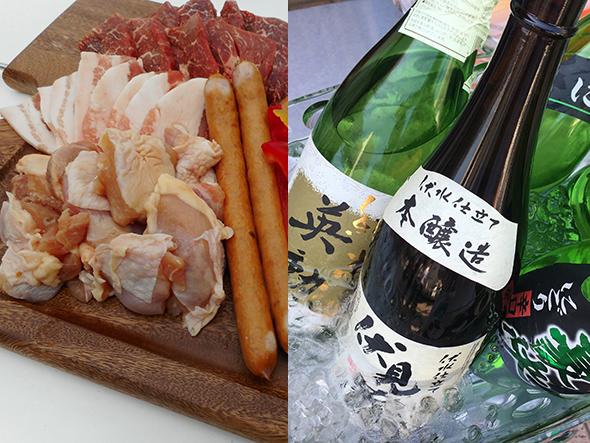 牛肉や京の都もち豚、鶏もも肉、ソーセージなど盛りだくさんなBBQセットに、京都・伏見の地酒