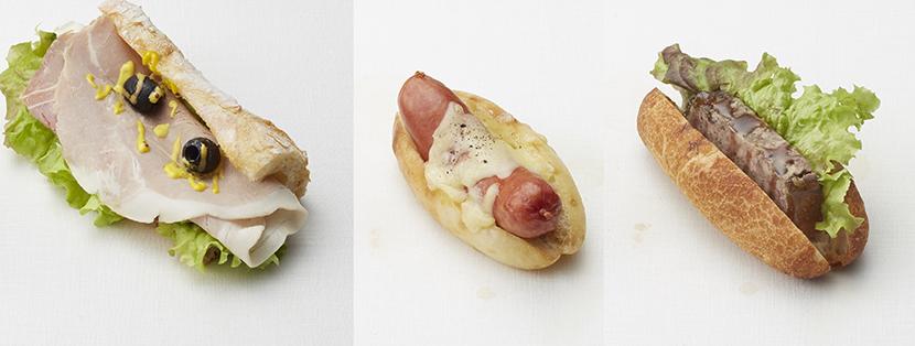左から、ソフトフランスにゆでハムのジャンボンブランドッグ、あっさりパンにソーセージとチーズのソーシスダルザドッグ、パテドカンパーニュドッグ各864円