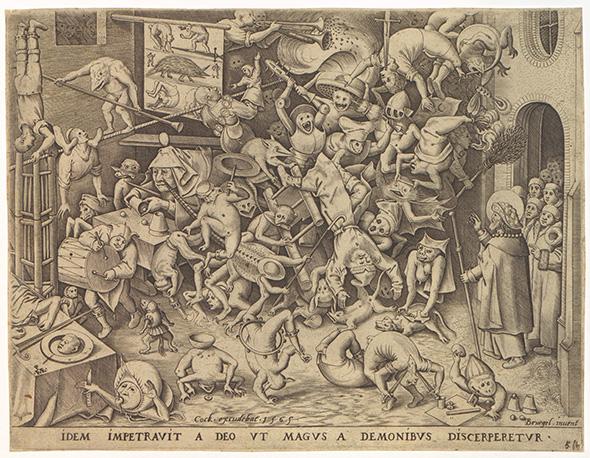 ピーテル・ブリューゲル(父) [原画]/ピーテル・ファン・デル・ヘイデン [彫版]《魔術師ヘルモゲネスの転落》1565年 プランタン=モレトゥス博物館蔵