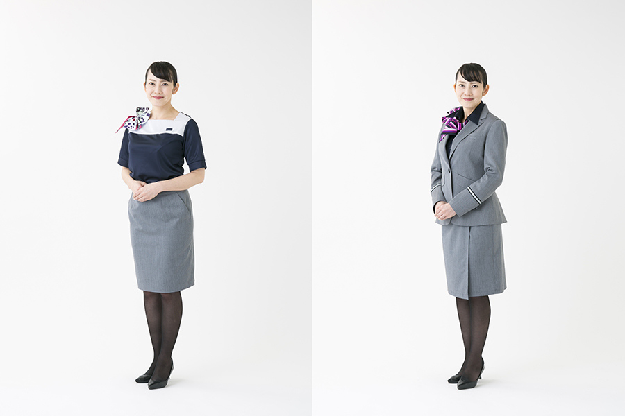 約9年ぶりにリニューアルされた山陽新幹線・パーサーの制服(左が夏服、右が冬服)