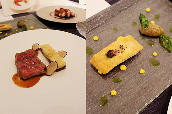 レストラン「ル・クール神戸」のディナーメニューから、「淡路椚座牛ロース肉のグリエ 生コショウ香るジュアッシュパルマンティエ添え」と「沼島産キアジのガレット 地元産茄子を添えて」