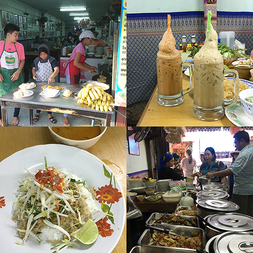 店先では、かわいい子どもたちがロティを焼いている。タイ南部の混ぜご飯、カオヤムは野菜やハーブを混ぜ混ぜして、ライムを搾り、サラダ感覚で食べる