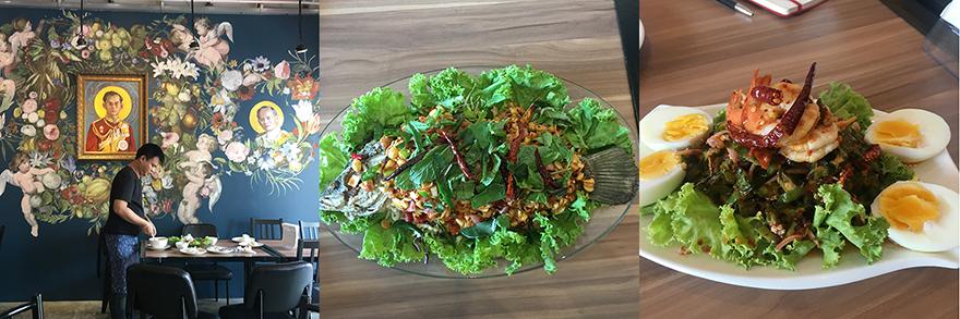 右から、唐辛子がしっかり効いた四角豆の炒め物、揚げた魚に甘酸っぱいソースをかけた料理。ハーブやナッツもたっぷりかかっていて、葉野菜に包んでいただく