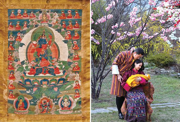 左《ドルジェ・チャン父母仏タンカ》17世紀〜18世紀末期 綿本彩色、鉱物顔料 ブータン王国国立博物館 右《ジグミ・ケサル・ナムギャル・ワンチュク国王とヅェツン・ペマ王妃が2016年2月5日に誕生した王子と王宮にて。王子誕生2週間後》©Royal office for media