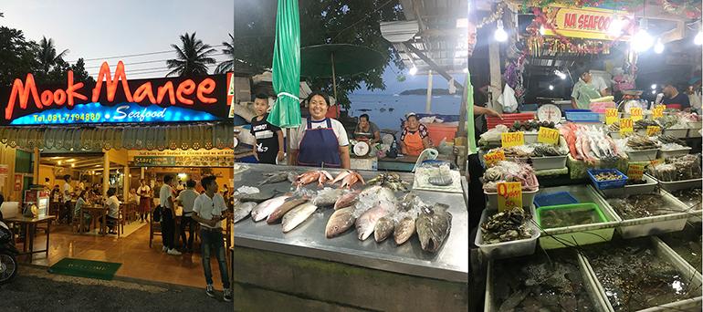 マーケットの近くには漁を生業とする先住民族、シージプシーの集落があり、露店には鮮度抜群の魚介が並ぶ。市場内のレストランは、魚介を持ち込み、調理代を支払うシステム