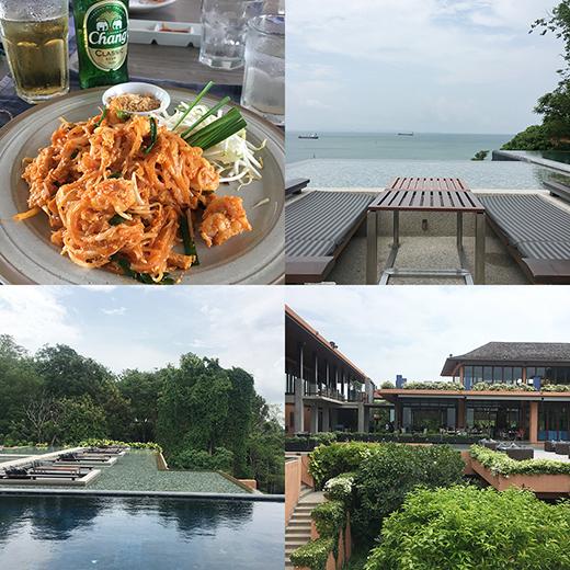 食べ慣れたパッタイ(タイ風焼きそば)も屋台や街の食堂とは違った上品な味わい。海沿いのソファシートは、海と一体になれる