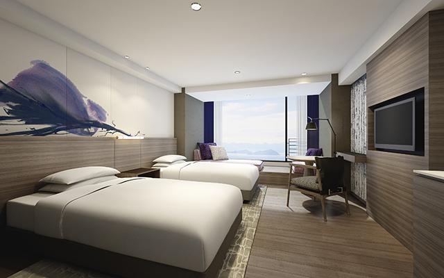 「琵琶湖マリオットホテル」の客室、デラックスツイン