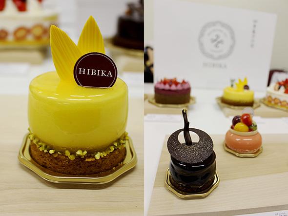 黄色の「向日葵」(692円)はさっぱりした瀬戸内レモンのタルト。「星月夜」(746円)は、チョコレートを贅沢に使い、軽い味わいに仕上げた2層のムース。右は「水風船」(789円)