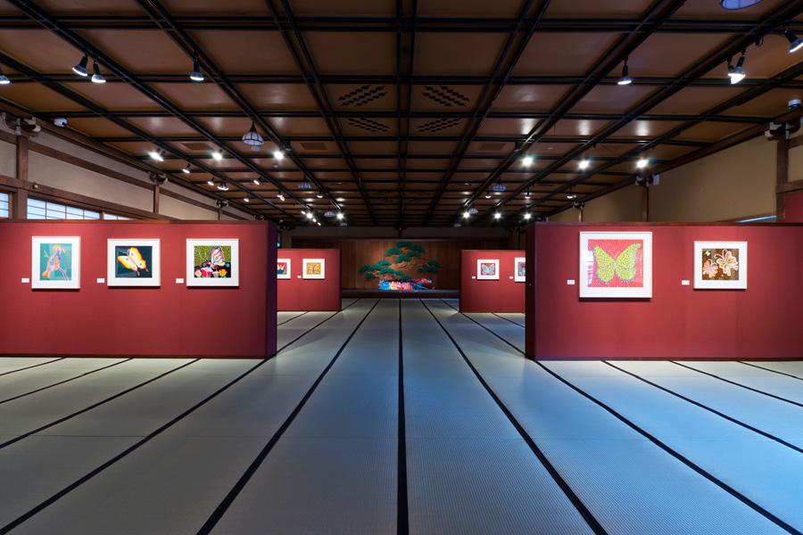 日本建築と見事に融合している草間の作品群。写真は第4展示室のようす