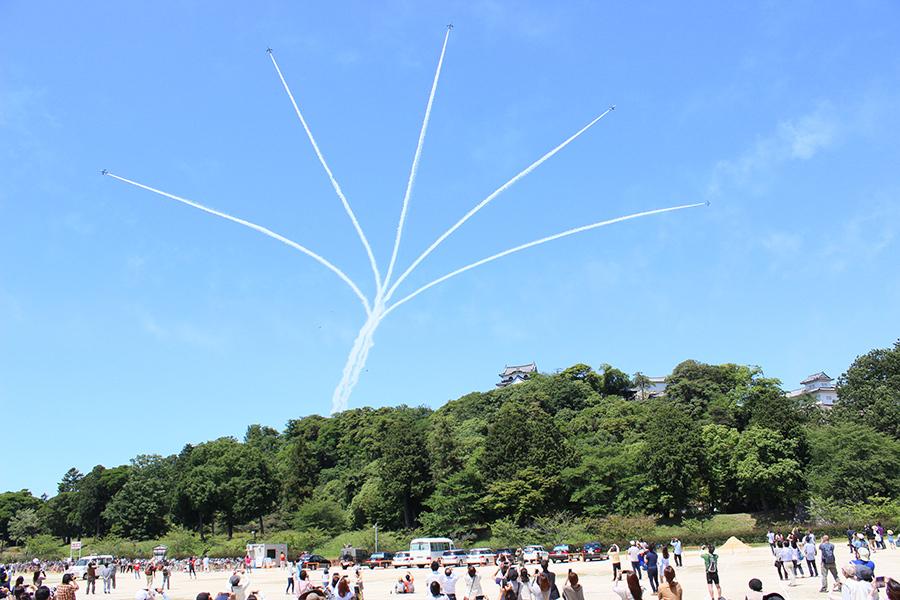 航空自衛隊ブルーインパルスの展示飛行を観覧する来場者たち(4日・彦根市)