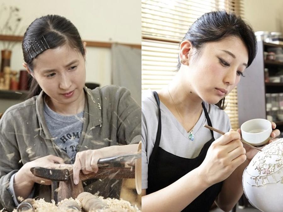 唯一の女性木地師・山田マコさん(左)と七宝焼作家・田村有紀さん(右)