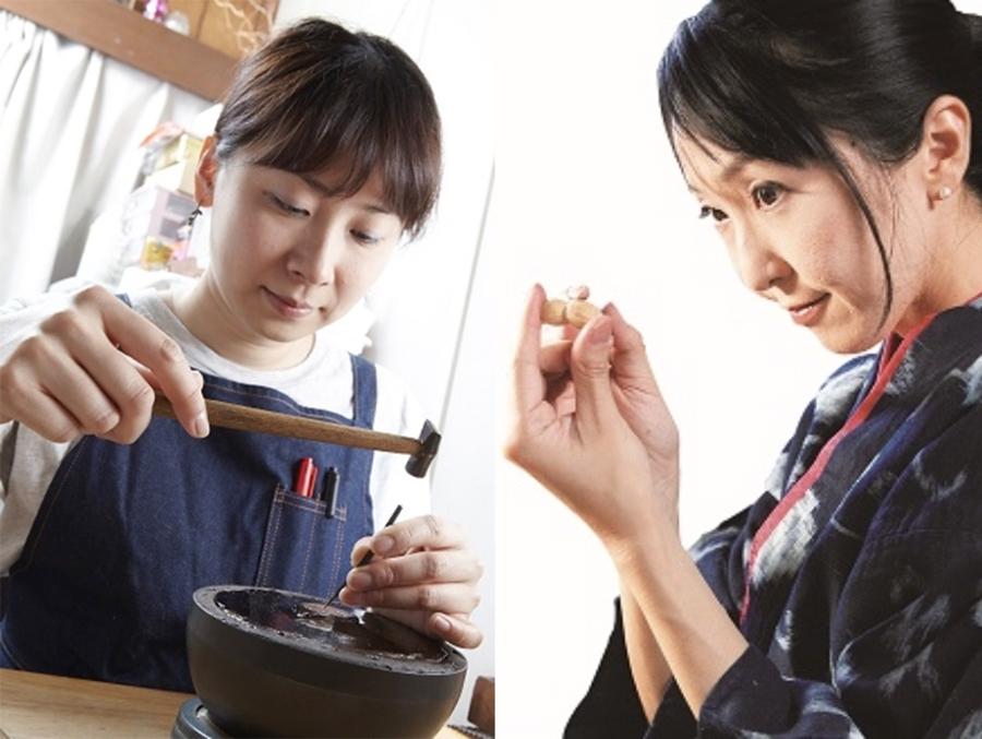 加賀象嵌作家の笠松加葉さん(左)と伊勢根付職人・梶浦明日香さん(右)