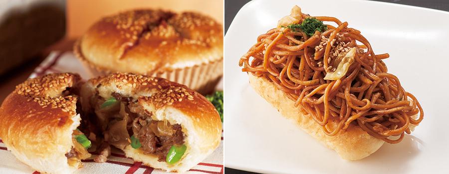 (左)三田「パンプキン」三田牛すきやきパン260円、京都「麦わらぼうし」焼きそばパン399円