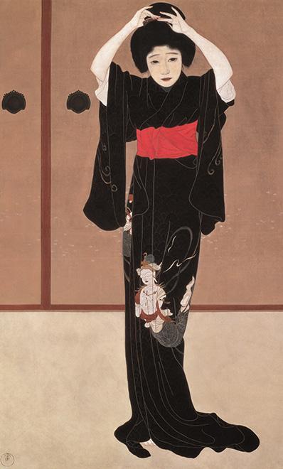 北野恒富《鏡の前》大正4年(1915)滋賀県立近代美術館