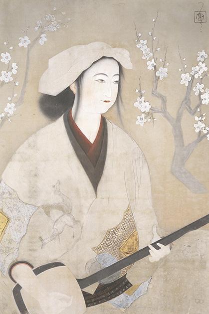 北野恒富《三味線》大正10年(1921)石川県立美術館