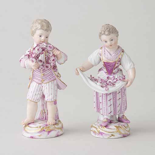 庭師の少年少女 原型制作者:ヨハン・ヨアヒム・ケンドラー 原型制作年:1740 作品製造年:19世紀後半 岐阜県現代陶芸美術館(小早川コレクション)