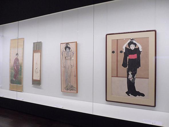 北野恒富《鏡の前》大正四年(1915)滋賀県立近代美術館(右端)