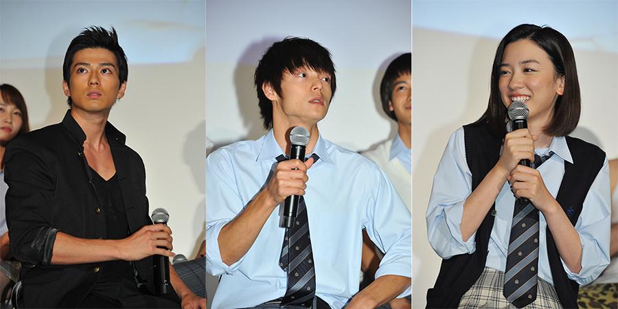 左から、新田真剣佑、窪田正孝、永野芽郁(13日・制作発表会見)